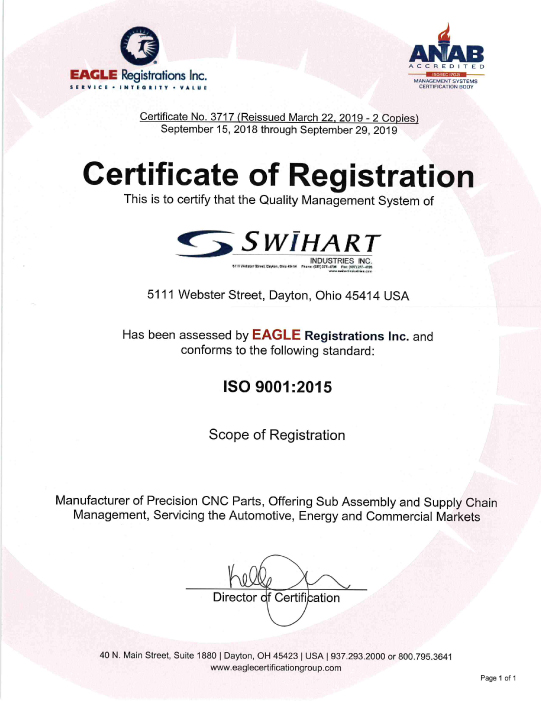 Swihart Industries ISO 9001